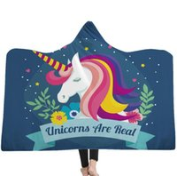Wholesale animal print hats for sale - kids Unicorn Hooded Blankets Sherpa Cloak Dream Unicorn Series Hoodie Blanket D Animal Printed Winter Warm Fleece Blanket With Hat KKA6238