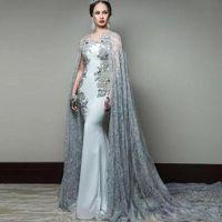 abendkleid spitze kap großhandel-Neueste Abric Mermaid Abendkleider mit Cape Sleeve Jewel Neck Abendgarderobe Pailletten Sweep Train Celebrity Gowns