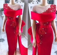 Wholesale sheer lace short resale online - 2020 New Red Sexy Mermaid Evening Dresses Sheer Neck Off Shoulder Satin Lace Appliques Beaded Sashes Side Split Formal Prom Dresses Wear
