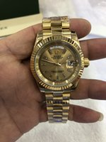 Wholesale diamond watch box resale online - With Original Box Top Quality Day Date President k Yellow Gold Watch w Gold Diamond Dial Men s Sport Wrist Watches Automatic Mens Watch