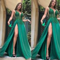 Wholesale vestidos de fiesta for sale - Group buy green prom dresses v neck lace beading pearls side slit a line floor length evening dresses vestidos de fiesta