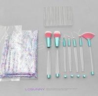 kits de montage de bricolage achat en gros de-LOSUNNY 7 Pcs Maquillage Brush Sets tubes en cristal transparent Détachable DIY Assemblée Main Sur Assemblage Manuel Livraison Gratuite Outils