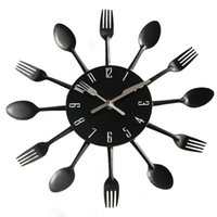 Wholesale kitchen clocks spoons for sale - Group buy Modern Decorative Creative Cutlery Metal Kitchen Wall Clock Spoon Fork Quartz Electronic Wall Mounted Clocks Horloge Murale