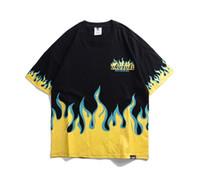 ingrosso camicia dei fidanzati-Harajuku Mens Fire Flame Cotone stampato T Shirt Designer di marca Manica corta Oversize Hip Hop Casual Boyfriend Shirt Tee LD158