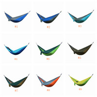 camas de jardines al por mayor-Hamaca 34 colores 270 * 140 cm Campo de tela de paracaídas al aire libre Camping Hamaca Jardín Camping Columpio Cama colgante LJJZ641