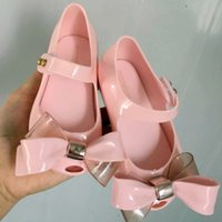 Wholesale bow metal buckle for sale - Group buy Fashion Melissa jelly sandals kids flat beach shoes girls metal buckle Bows princess sandals shining children transparent crystal shoes F883