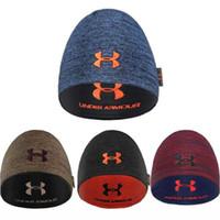 fedora satışı toptan satış-Unisex UA Kış Sıcak Altında Örme Şapka Geri Dönüşümlü Beanie Kafatası Kap Fedora Çift taraflı Giymek Beanies Şapka Zırh Erkekler Kadınlar Açık Kapaklar Satış