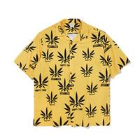 plage jaune courte achat en gros de-Jaune Imprimé Chemise Homme Graphique Casual 2019 Nouvelle Arrivée D'été Plage Harajuku Chemises À Manches Courtes Streetwear