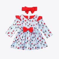 bebek elbiseleri saç bantları toptan satış-Bebek Kız Noel Elbise Uzun Kollu Noel Baba Baskı Elbise + Saç bandı 2 adet / set Çocuklar Giyim LA142