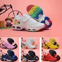 boutons pour chaussures achat en gros de-nike air max tn airmax 2019 gros TN Plus KPU bouton magique air Cushion Trainer Enfants Chaussures de course garçon fille jeune enfant sport Sneaker taille 28-35