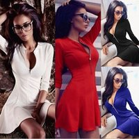 Wholesale dress repairs for sale - Group buy 2019 Zipper Waist Collection Long Sleeves Large Pendulum Skirt Sexy Repair The Body Pure Color Dress
