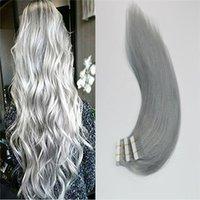 ingrosso capelli grigi reali-8a nastro sulle estensioni dei capelli 20 pezzi trama doppia faccia pelle argento nastro grigio nelle estensioni dei capelli umani 50g capelli lisci veri