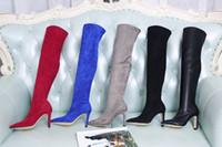 graue knie hohe stiefel frauen großhandel-Winter Oberschenkel Hohe Frau Stretch Stiefel Mode Spitz Starke Ferse Reißverschluss Grau Schwarz Overknee Stiefel High Heels Größe 35-40