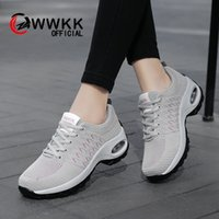 Wholesale lace up sport dance shoes resale online - WWKK Women Sneakers Running Shoes Ladies Walking Dancing Sports Shoes Outdoor Air Cushion Breathable Footwear Lace up Sneakers