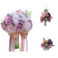 Wholesale flower boutonnieres for sale - Group buy H S BRIDAL Elegant Wedding Bouquet Wrist flower and boutonniere Pink Purple Mixed Wedding Bridesmaid Bridal Bouquet Set Artificial Rose