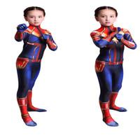traje zentai maravilha venda por atacado-Macacões Suit Crianças 3D Girls Movie Versão Capitão Marvel Carol Danvers Cosplay Zentai Bodysuit