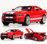 Wholesale shelby cars resale online - High Simulation Alloy Diecast Toy Vehicles Mustang Shelby GT500 Car Model Metal With Sound Light Pull Back Toy Car Gifts