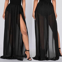 Wholesale dyed clothes pink for sale - Sexy Club See through Maxi Skirts Womens Side Split Mesh Chiffon Long Maxi Skirt For Women Clothes Bridal Accessories