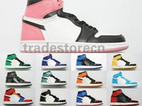 yüksek sokak ayakkabıları toptan satış-Kutu Ile 2019 1 Orta Kesim Yüksek OG Chicago Yasaklı oyun Kraliyet basketbol Ayakkabı Erkekler 1 s Üst Sokak Fantezi Panyası Ucuz Kadın Sneakers Boyutu 13