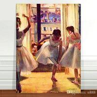 Wholesale ballet dancer paintings for sale - Group buy Edgar Degas Three Ballet Dancers Handpainted HD Print Impressionist Portrait Art oil painting Home Decor On Canvas p215