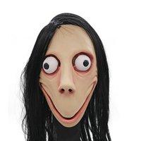 nueva máscara femenina al por mayor-Nuevo Juego Muerte MOMO Máscara Sin explosión Estilo máscara de miedo de Halloween golondrina de mar femeninas máscaras del fantasma de la peluca del festival del partido Jugar Suministros