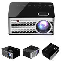 ingrosso proiettore alimentato usb-Micro proiettore T200 Pocket LED, tasti a sfioramento Videoproiettore per videogiochi HDMI USB AV Supporto per proiettore Beamer Power Bank esterno