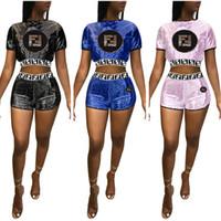 kadınlar için kulüp giyim toptan satış-Kırpma Üst Tee T-shirt + Şort 2 parça Set Sokak Kulübü Elbise Kadın Yaz Eşofman FF Mektubu Sequins Degrade Renk Glitter Kıyafet C42903
