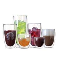 milchdekoration großhandel-Eierbecher 80 ml 290 ml transparent doppelwandige doppelte Glaswaren Kaffee Teetassen Glaswaren Milchbiersuppe und isolierte Weinbecher