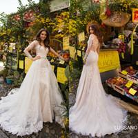 flare fildişi gelinlik toptan satış-Ayrılabilir Tren Uzun Kollu Boncuklu Aplike Dantel Gelinlik Custom Made vestidos de novia ile 2020 Lussano Denizkızı Gelinlik