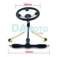 Wholesale gears racks resale online - Chinese cc Go Kart mm Steering Wheel mm Assembly Full Steel Gear Rack Pinion mm U Joint Tie Rod Knuckle Assy Parts