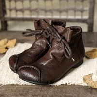 Wholesale soft leather comfort shoes resale online - Tayunxing handmade shoes genuine leather soft low heel flats lace up platform comfort ankle women boots warm T200425