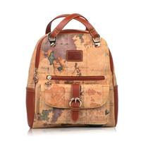 ingrosso mappe borse-Zaino di moda per le donne Vintage Style Map Shoulder Borse da viaggio Casual Daypack Regali per le donne Albicocca