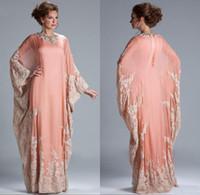 uzun kollu arabian gece elbiseleri toptan satış-2019 Yeni Şifon Kaftan Dubai Arap Abiye Uzun Kollu Aplikler Dantel Donatılmış Müslüman anne Gelin Elbiseler Artı Boyutu