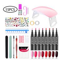 conjunto de salão de beleza venda por atacado-15pcs / set Nail Art Pen para o prego 3D Art DIY UV Lamp Polish Pen Set Design Beleza Salon Ferramentas de pintura Supplies removedor