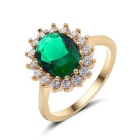 Wholesale emerald wedding band rings resale online - Popular Luxury Designer Jewelry Emerald Sun Flower Band Rings for Women Girls Wedding Engagement Party Jewelry Rose Gold Color