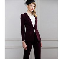 jaqueta de uniforme vermelho feminino venda por atacado-Vinho tinto Mulheres Ternos de Negócio Elegante Jaqueta + Calça Blazer Escritório Feminino Uniforme 2 Peças Ternos Das Senhoras Inverno Formal