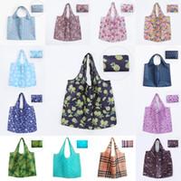 katlanabilir çantayı geri dönüştür toptan satış-Kullanımlık Alışveriş Çantaları Su Geçirmez Oxford Bez Katlanabilir Alışveriş Çantası Geri Dönüşüm Tote Kılıfı Katlanabilir Depolama Çanta 42 Stilleri
