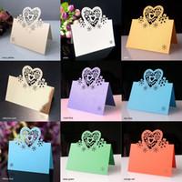 Wholesale out decor resale online - 50 set Wedding Laser Cut Party Favor Decor Place Cards Love Heart Hollow Out Butterfly Table Name Colors