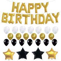 siyah doğum günü partisi malzemeleri toptan satış-26pcs / Set Doğdun Balonlar Altın Siyah Lateks Folyo Balonlar Yetişkin Doğum Günü Parti Süsleri Sarf Malzemesi