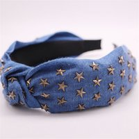 Wholesale bohemian headwear resale online - 1 pc Bohemian Ethnic Denim Hair Band Center Knot Fashion Headwear Metal Star Stamping Knotted Hair Hoop Accessories