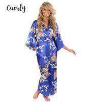 iç çamaşırı pijama satışı toptan satış-Pijamalar Sıcak Mavi Kadın İpek Rayon Elbiseler Kimono Yukata Çin Gömlek Kol Elbise Kadınlar Sexy Lingerie Artı Boyutu İndirim