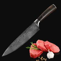 herramientas de corte de verduras al por mayor-Venta al por mayor herramientas de cocina de acero inoxidable cuchillo de damasco color delicado mango de madera rebanar fruta vegetal carne cuchillo afilado DH0587 T03