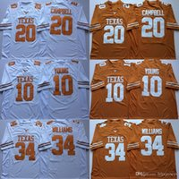 jerseys de texas longhorns al por mayor-34 Ricky Williams Texas Longhorns 10 Vince Young 20 Earl Campbell Stitched College Football Jerseys Envío gratuito