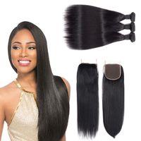 Wholesale human hair weaves for black women for sale - Group buy free sample hair bundles with closure virgin brazilian hair weave natural human hair for black women straight bundles