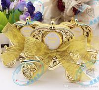 gold hochzeit wagen großhandel-Liebe Kutsche Hochzeit Box Party Favors Geschenk Candy Chocolate Box Gold und Silber Box für Hochzeit Baby Birthday Party