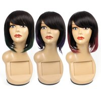 Wholesale two tone human hair lace wigs for sale - Group buy Ombre human hair wigs For Black Women Short Bob Style Ich Two Tone Green Brazilian Straight Hair Remy Human Hair Wigs