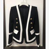 blazerler kadınlar için renk beyaz toptan satış-YÜKSEK KALITELI Tasarımcı Ceket, kadın Blazer Ceket bayan Klasik Siyah Beyaz Renk Blok Metal Düğmeler moda bayan Blazer tops