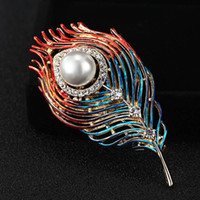 Wholesale gold pearl rhinestone brooches for sale - Group buy Fashion Enamel Feather Brooch For Men Jewelry Crystal Pin Brooches Pearl Christmas Hijab Accessories Women s Broches Pins