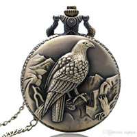 relojes de bolsillo de aves antiguos al por mayor-Último Bronce Antiguo Eagle Hawk Bird Fob Reloj de Bolsillo de Cuarzo con Cadena Nceklace Hombres Mujeres Colgante Regalo Creativo Reloj de bolsillo