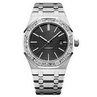 relojes de diamantes para hombre al por mayor-Relojes para hombre de lujo Reloj mecánico automático de diamantes Reloj de natación de acero inoxidable Super luminoso orologi da uomo di marca di lusso